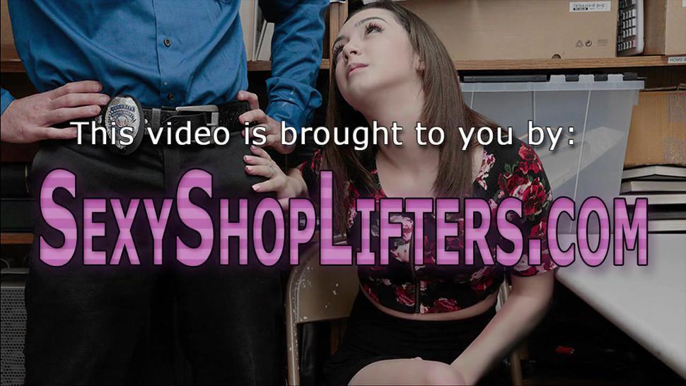 Caught teen criminal gets on her knees