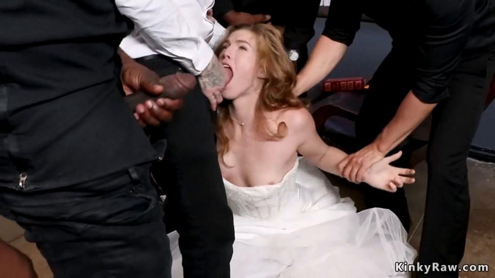 Slutty bride interracial dp fucked