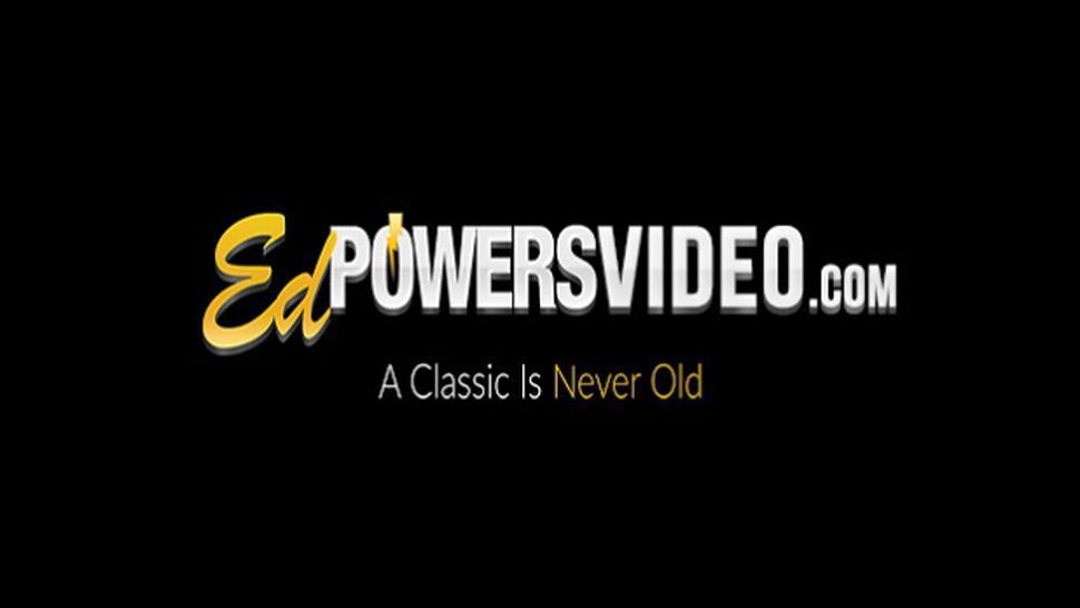 ED POWERS VIDEO - Inked blonde teen Kat Langer sucks old cock before banging