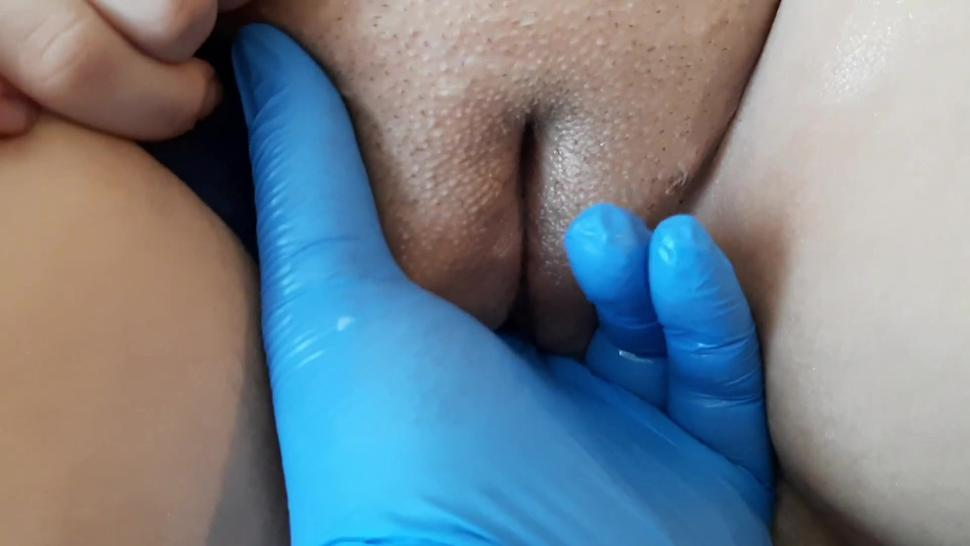 Blue Latex Gloves  Bottle Insertion  Quarantine Pussy