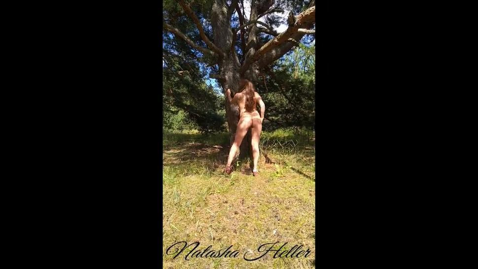 dangerous walk of a naked girl in the forest