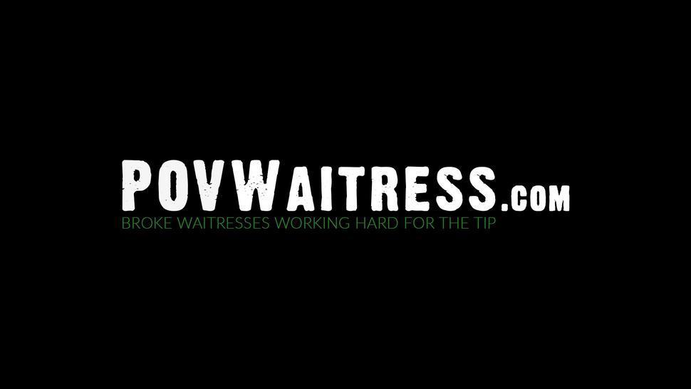 POV WAITRESS - Teen waitress Mackenzie Mace fed cum for good cock riding