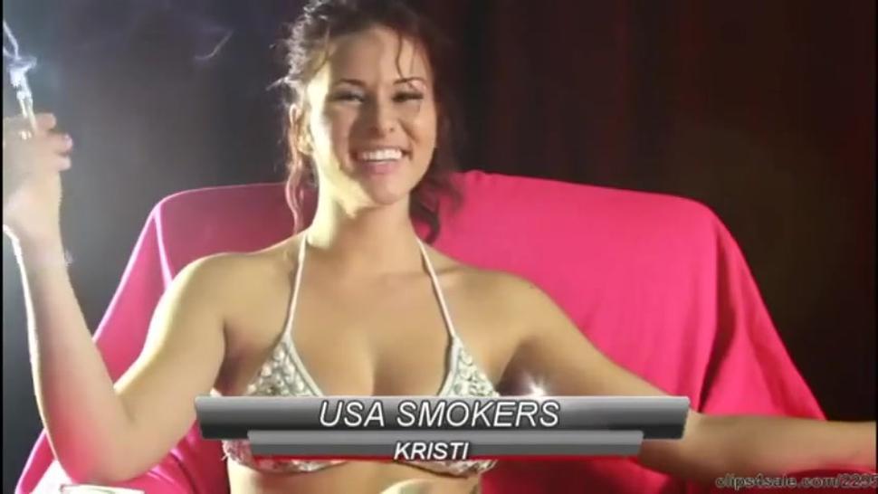 Smoking fetish compilation of the gorgeous brunette girl Kristi