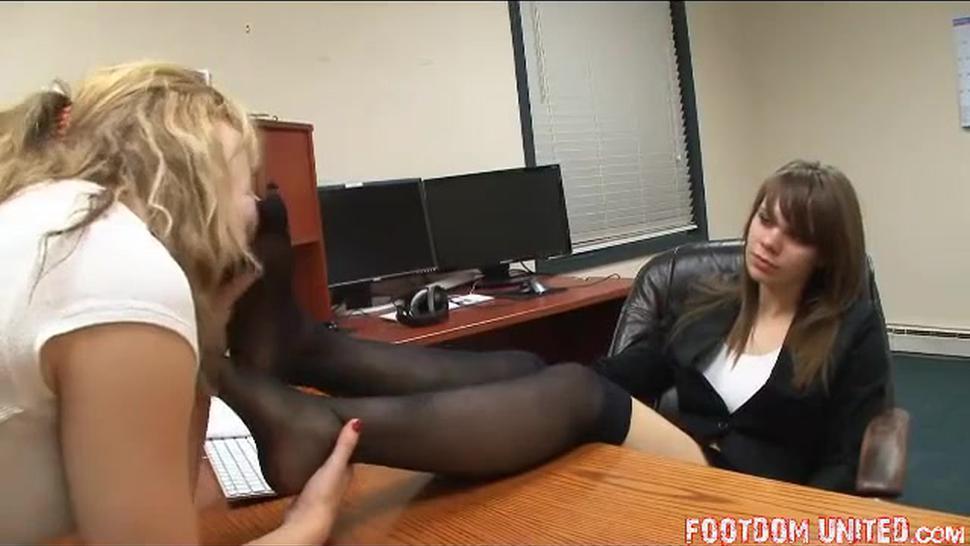 Mistress feet worship in office