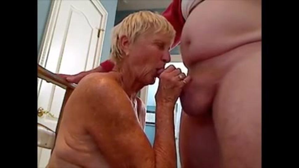 Grandma sucks grandpa cock and get cum on breast