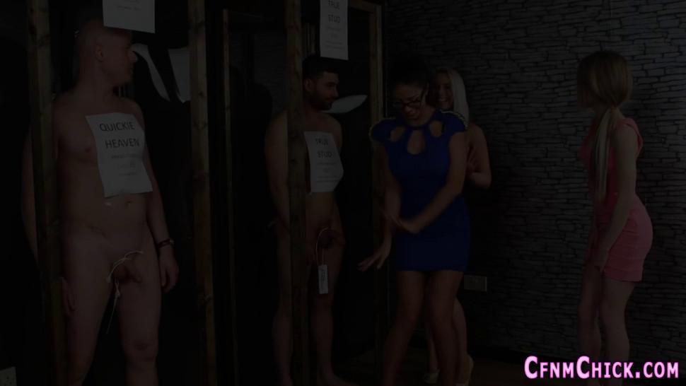 Classy dominas stroking naked dude