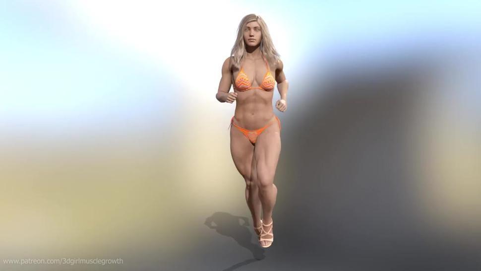 Sheila runs / female muscle growth animation