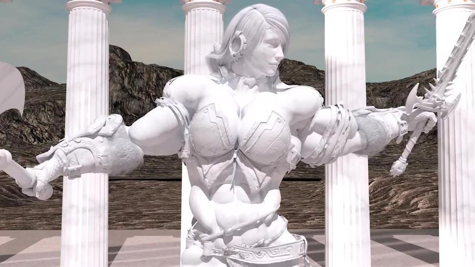 The sculpture / female muscle growth animation