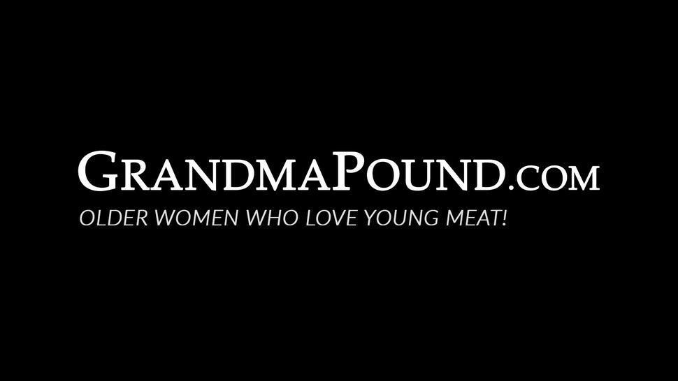 GRANDMA POUND - Horny grandma cum sprayed after hard doggystyle banging