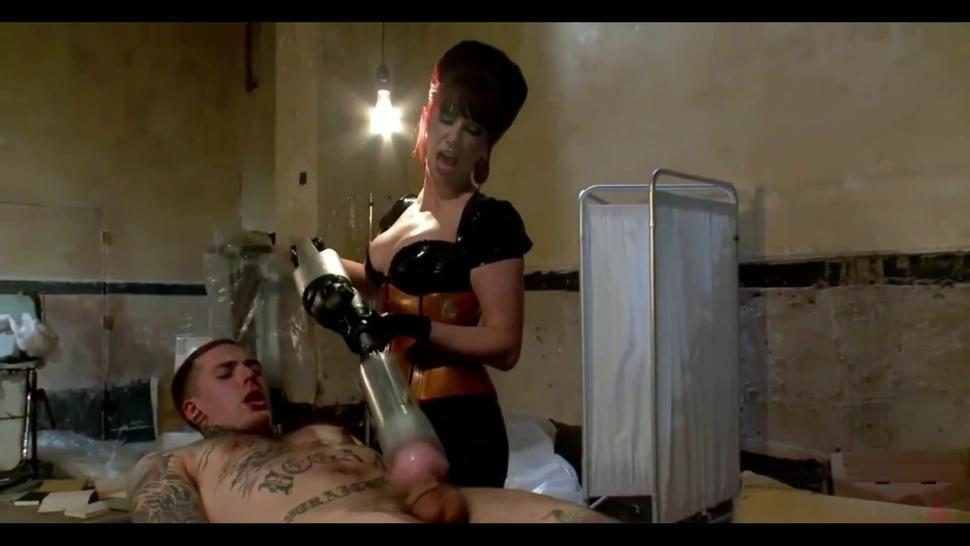 Boy just 18 years old is lying down then the mistress is massaging his prostate