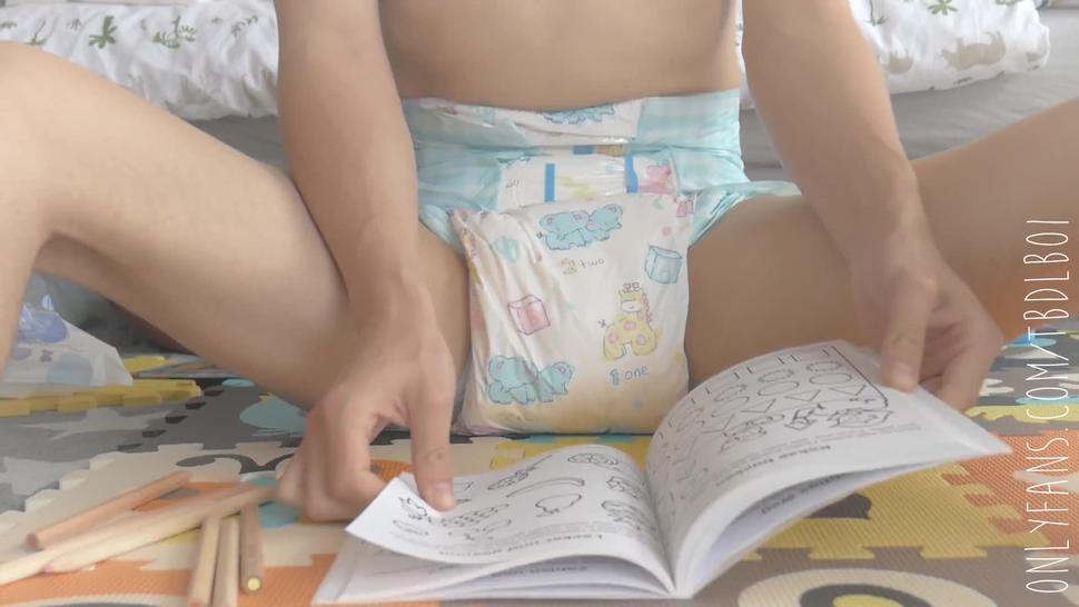 Little Diaper Boy Doing His Homework Padded