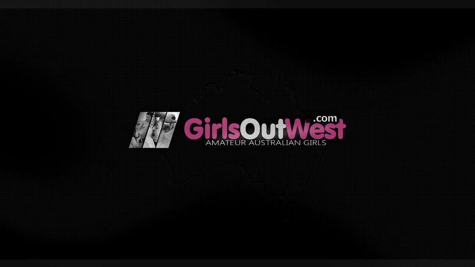 GirlsOutWest - Hairy lesbian pussy and ass licked in the bathroom