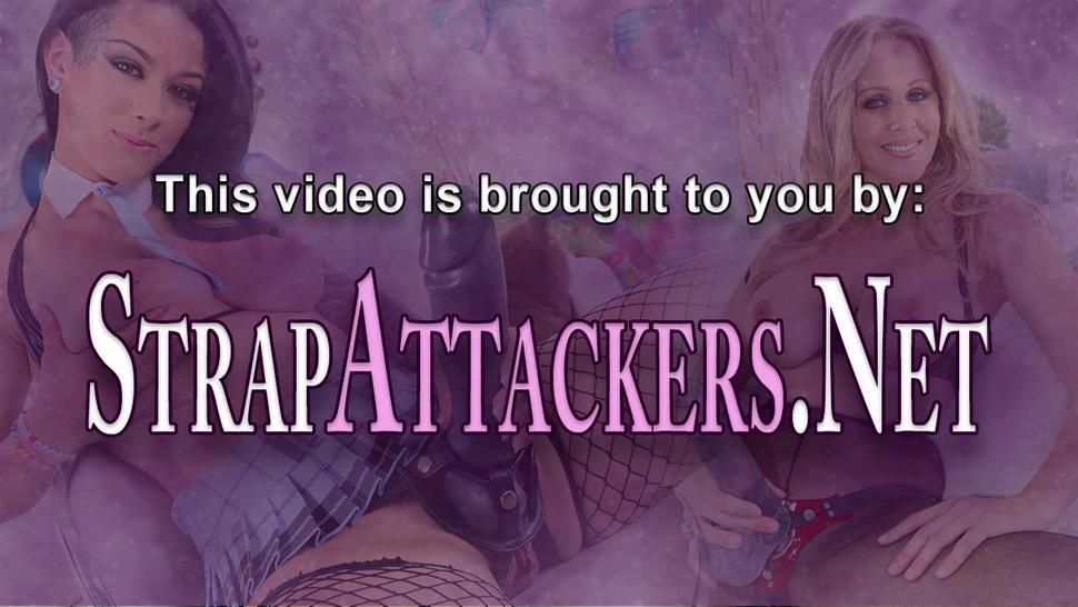 STRAP ATTACKERS - Femdom babes strapon spitroast fetish guy