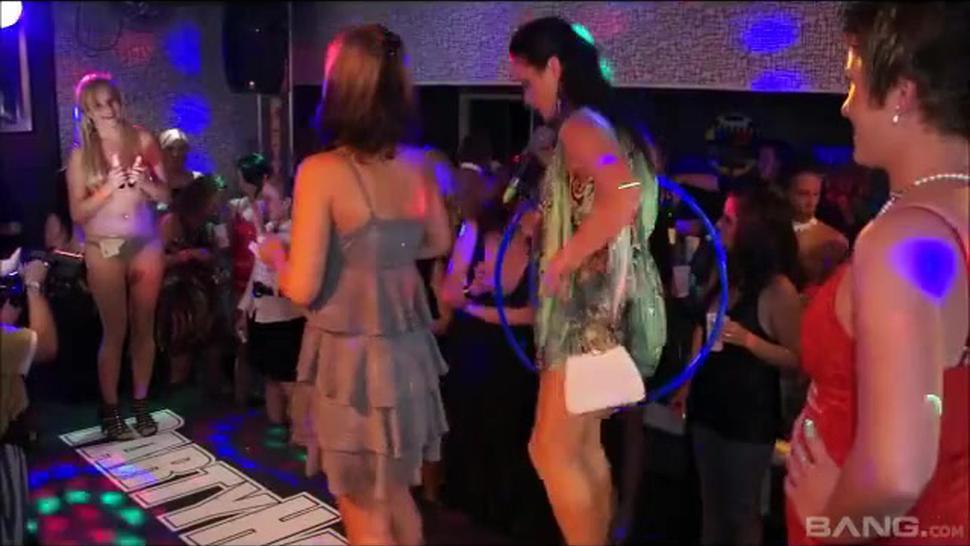 girl in blue dress has a LOT o fun