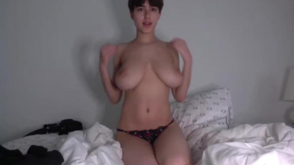 Super busty cam model before breast reduction 2