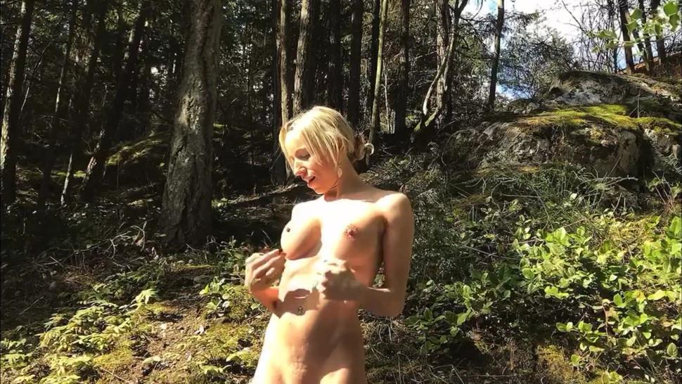 Masturbating/car hood blonde on squirt