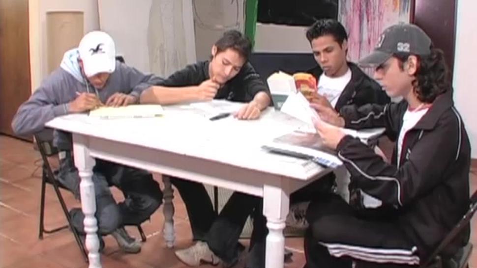 Four Latin Boys Bareback Sex Orgy
