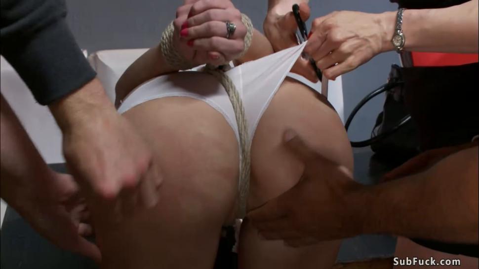 Blonde dom made slut sucking in public