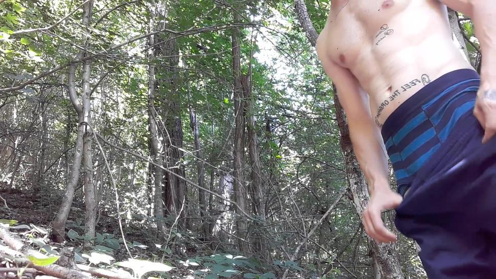 Long piss in the forest. Outdoor pissing