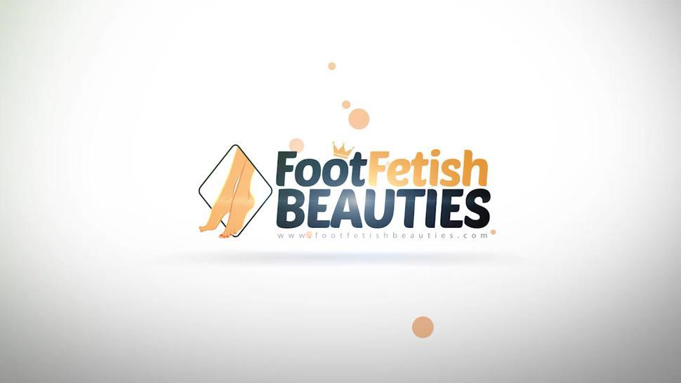 Barefoot blondes put their foot soles and toes in your face