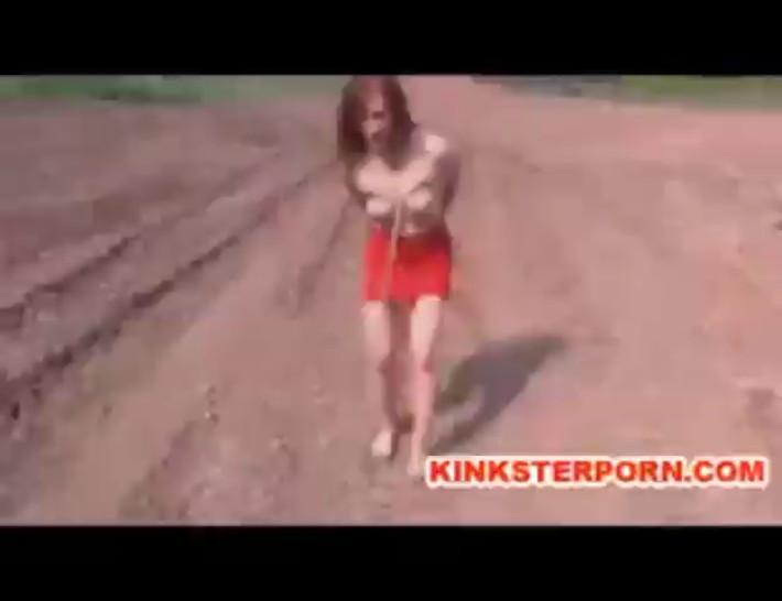 MILF BDSM Slave Catherine de Sade Outdoor Humiliation in Bondage