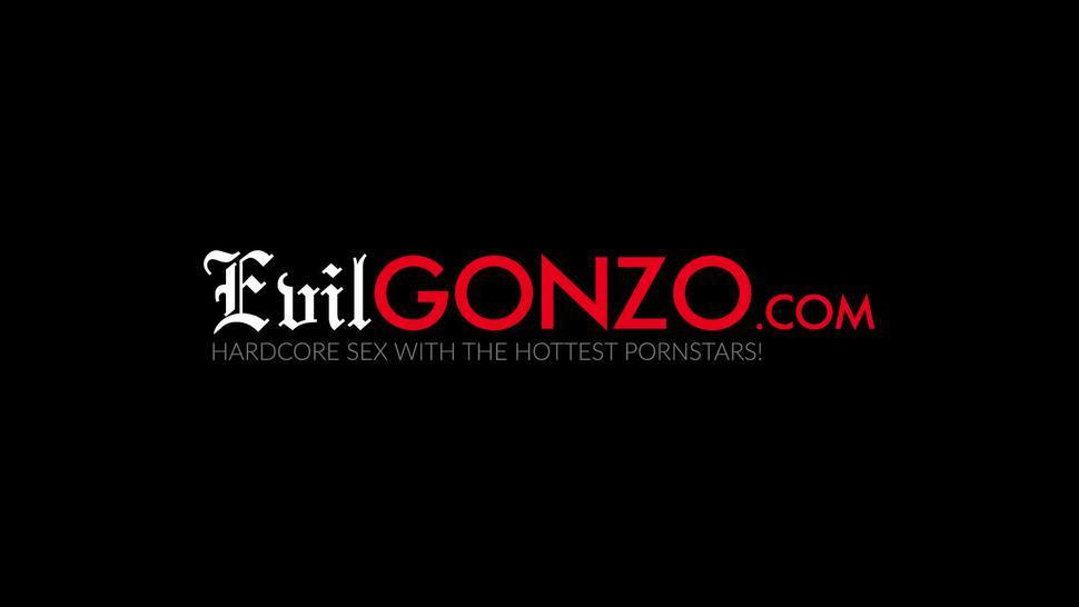 EVIL GONZO - Schoolgirl skirt and choker on young babe getting drilled