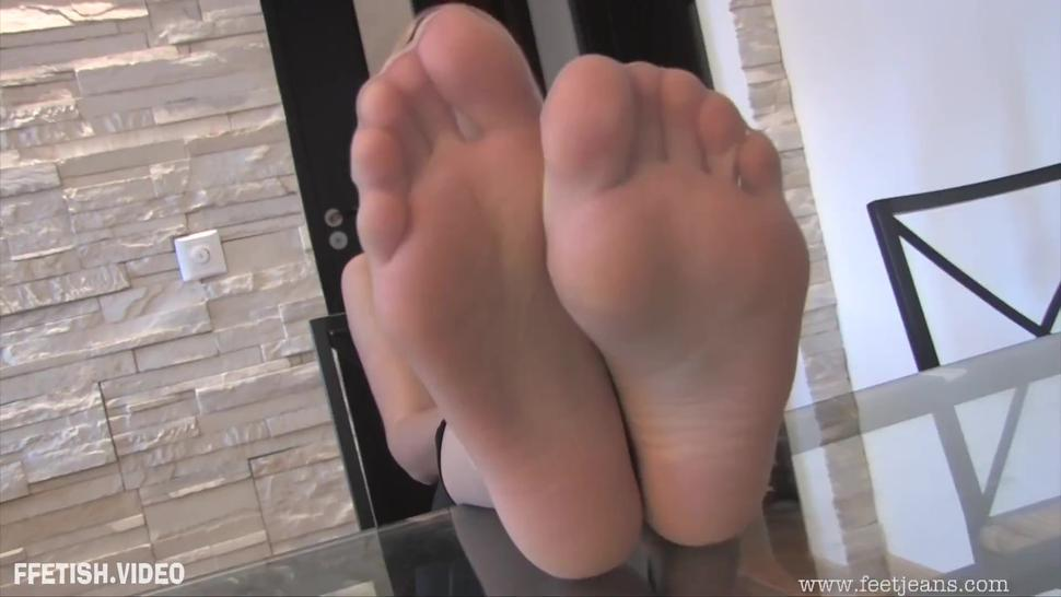 Blonde Teen Barbara in Pantyhose Tease Her Sexy Sheer Nylon Feet and Soles