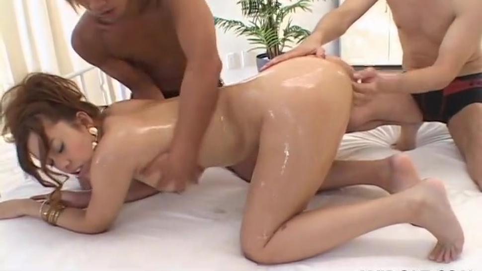 Three black men destroy the Asian girl pussy