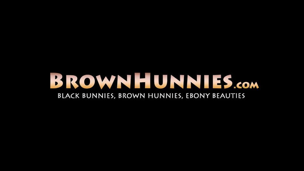 BROWN HUNNIES - Cute ebony amateur Baby Cakes doggystyle banged after BJ