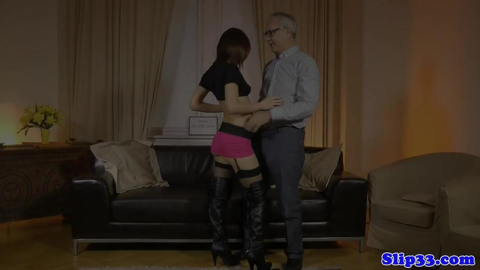 Heeled euro amateur cockriding older brit guy