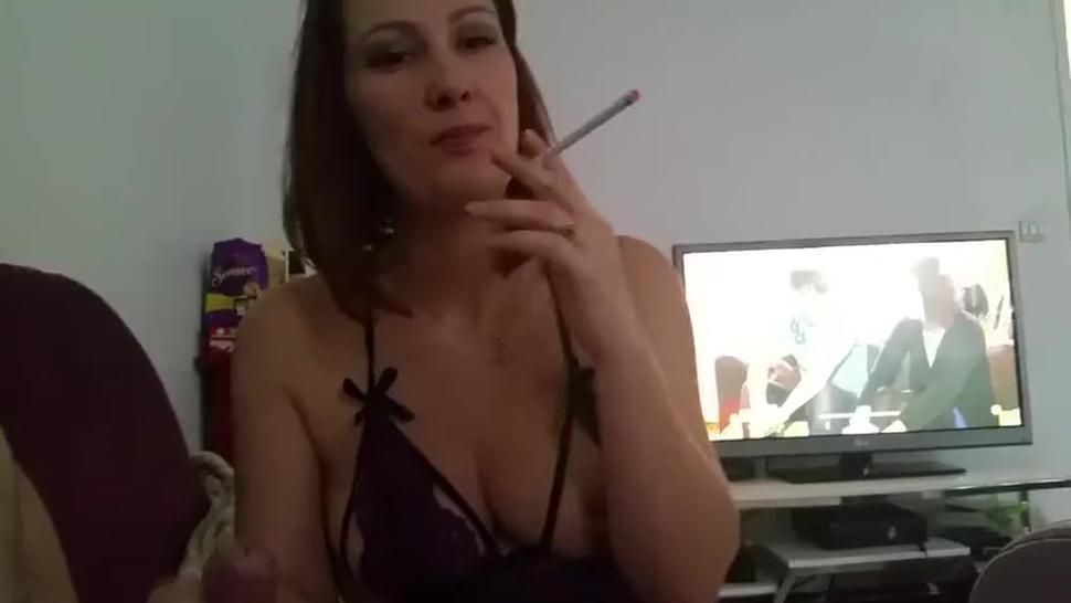Sexy brunette girl Diane giving sexy smoking blowjob