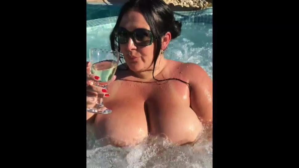 German milf with huge tits gives a blowjob handjob and tit screw in a hot tub
