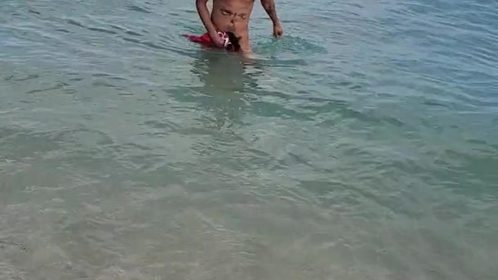 Sexy black man nude on nude beach in Florida