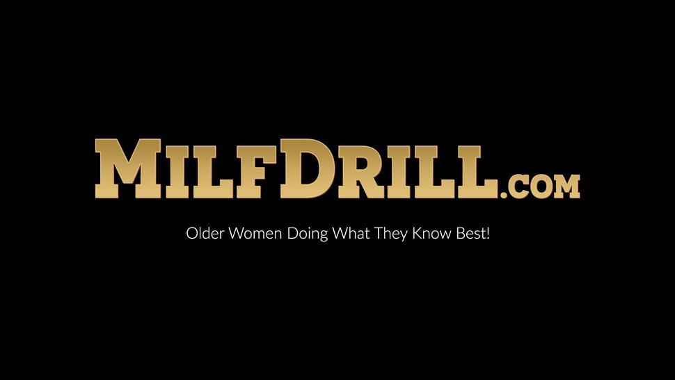 MILF DRILL - MILF Linda G sucks and rides matures Kathy Whites strap on