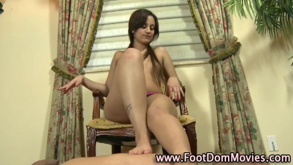 Foot job/fetish bitch femdom teasing foot