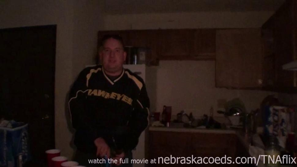 NEBRASKACOEDS - partying and flashing tits while tailgating outside iowa city football game