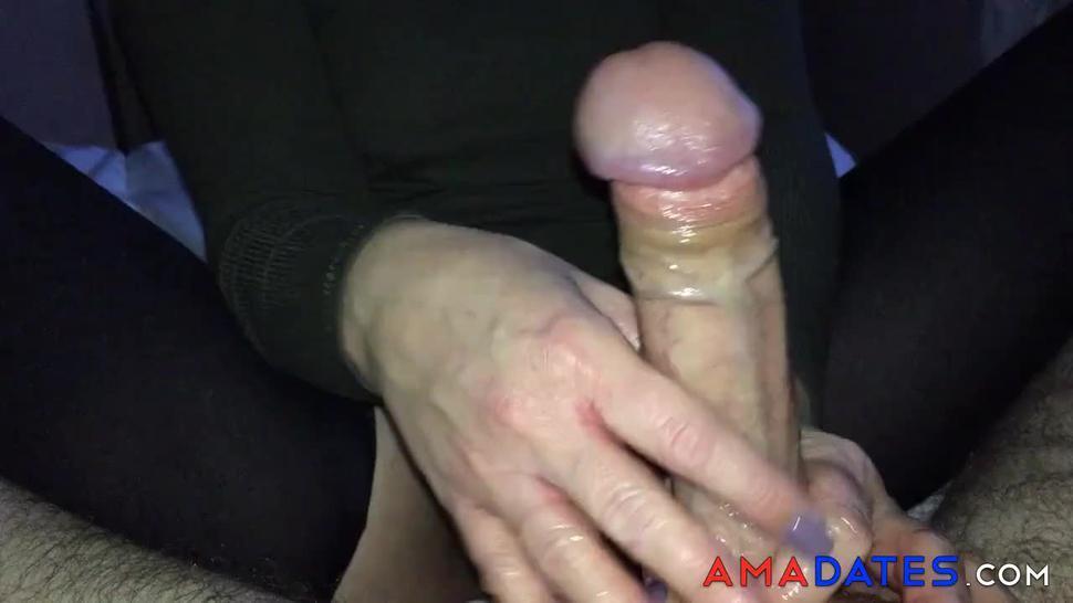 Giving hubby an oily handjob  cums everywhere