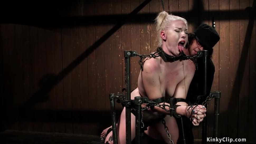 Chained blonde sub riding Sybian