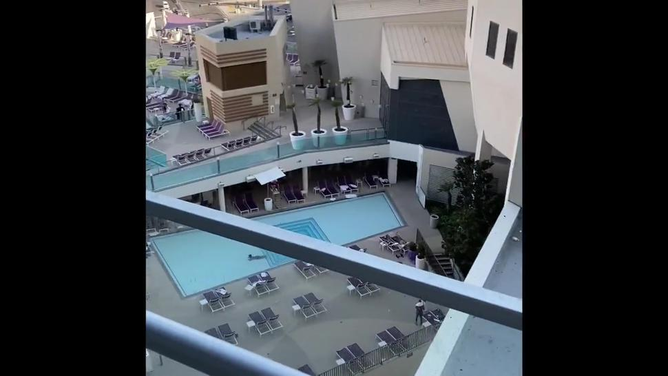 Exhibitionism masturbation public balcony Las Vegas Hotel - caught jerking off others watch until or