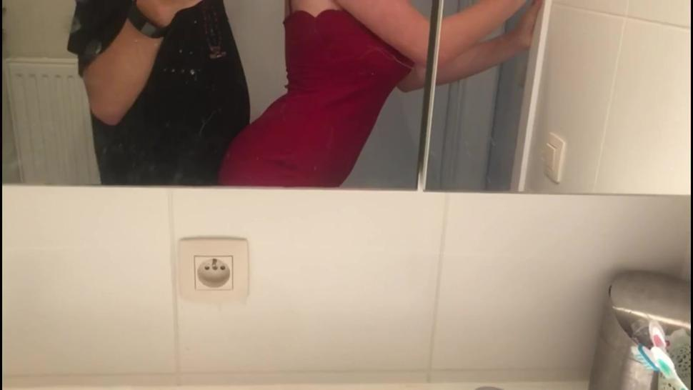 TikTok Flip The Switch Slut in red dress and lingerie gets fucked from behind