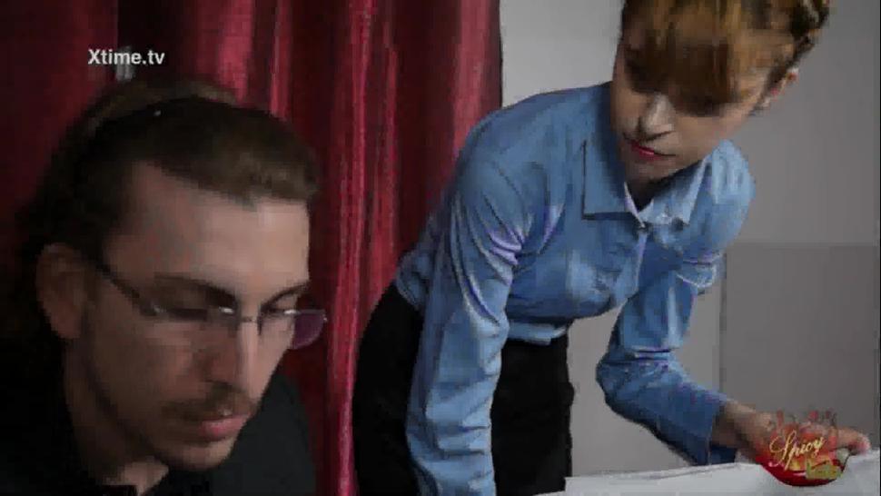 Adorable Petite Ginger Secretary In Tan Stockings Fucks