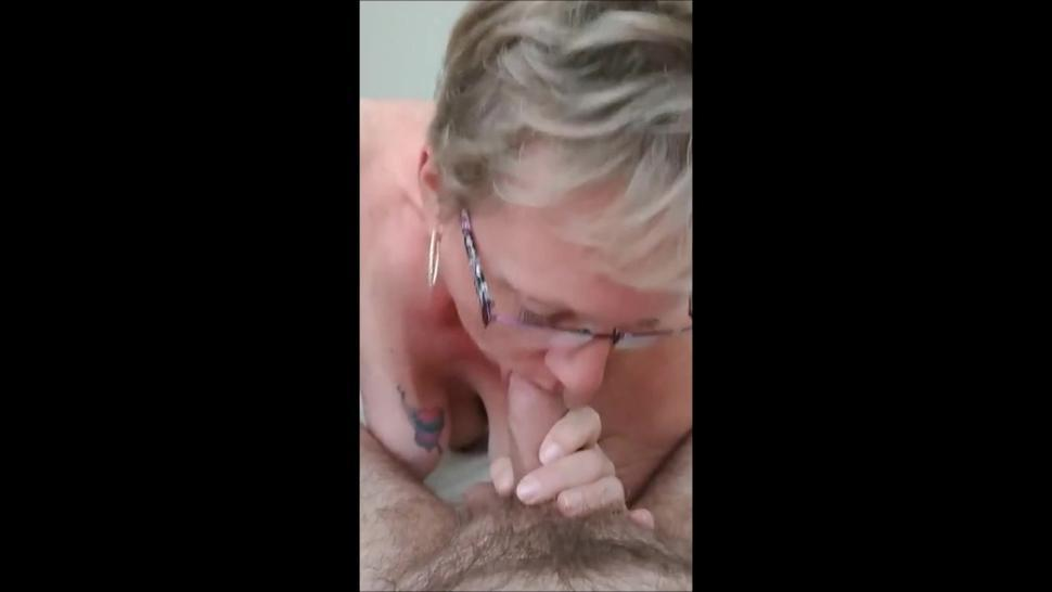 Short hair granny with glasses blowjob and cum in mouth