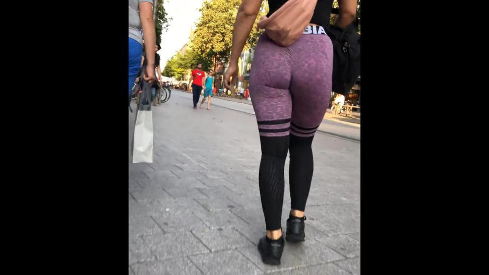 Candid hot brunette perfect booty in purple spandex