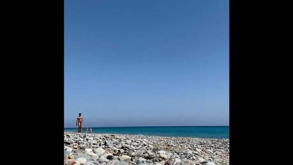 Men naked on the beach