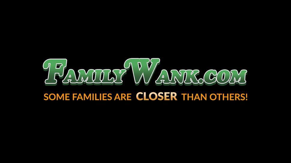 FAMILY WANK - MILF Nina Elle caught stepdaughter Amina Fara sucking dick