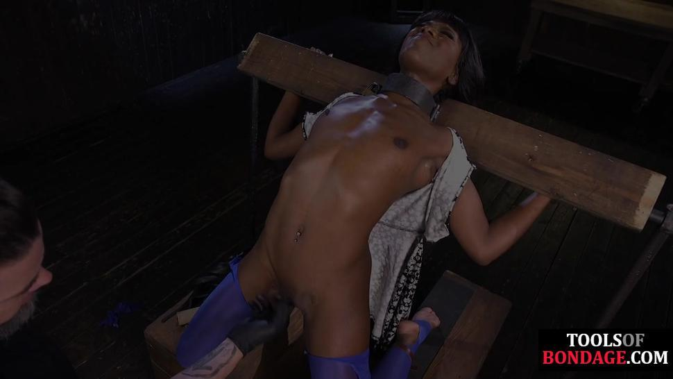 DEVICE BONDAGE - Black BDSM slave bound for foot domination