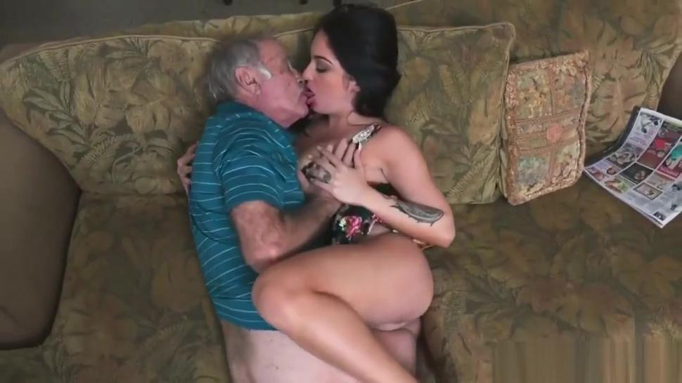 Grandfather makes out with Teen Latina