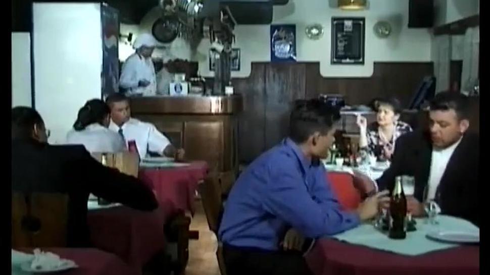 French bbw mature gangbanged in a restaurant