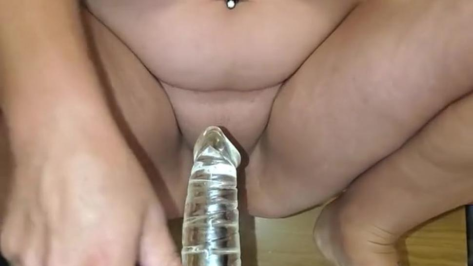 Sexy wife Sukie Rae fucking herself with glass cock