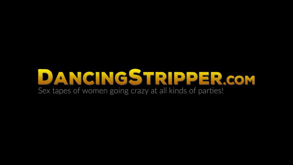 DANCING STRIPPER - Asian babe takes turns riding strippers cock with redhead